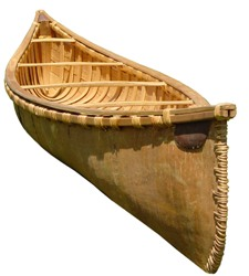 9 foot birchbark display canoe front