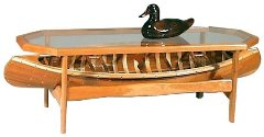 cedar display canoe coffee table